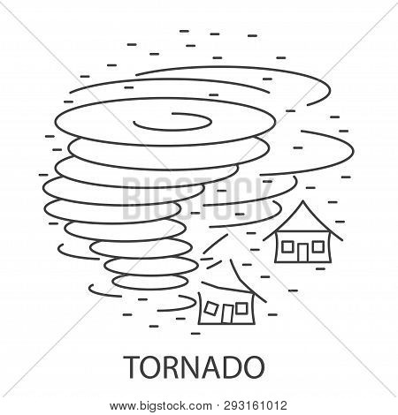 Tornado Natural Disaster Circle Banner In Linear Style. Compositions Of Tornado Disaster. Vector Ill