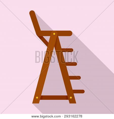 Lifeguard Beach Chair Icon. Flat Illustration Of Lifeguard Beach Chair Vector Icon For Web Design