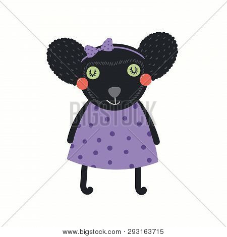 Hand Drawn Vector Illustration Of A Cute Funny Indri Girl In A Dress. Isolated Objects On White Back