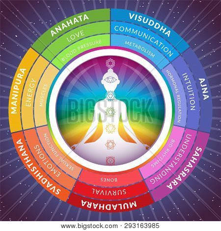 Yoga Chakras Infographics With Meditating Girl Inside Circuit Isolated On Starry Space Background