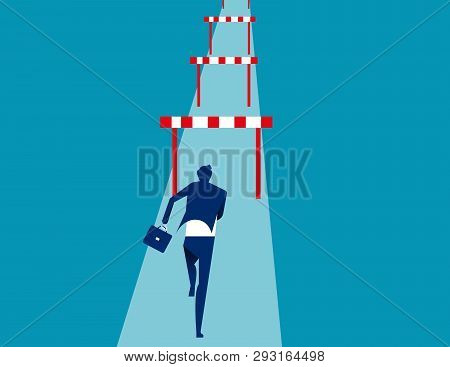 Businessman Hurdler. Concept Business Success Vector Illustration.