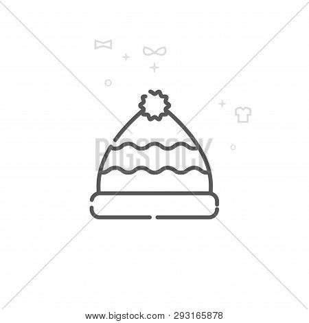 Winter Hat With Pom Pom Vector Line Icon. Clothes, Garments Symbol, Pictogram, Sign. Light Abstract