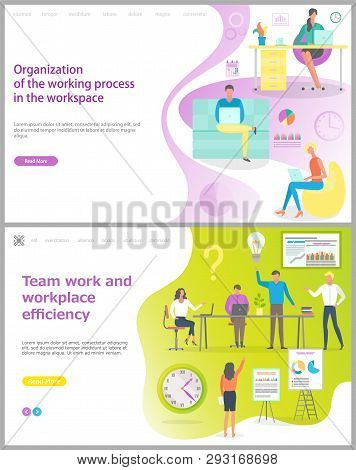 Organization Of Working Process In Workplace And Teamwork Working Efficiency Vector. People In Offic