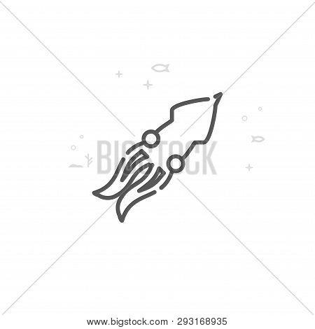 Squid, Cephalopod Vector Line Icon. Marine Life, Sea Creatures Symbol, Pictogram, Sign. Light Abstra