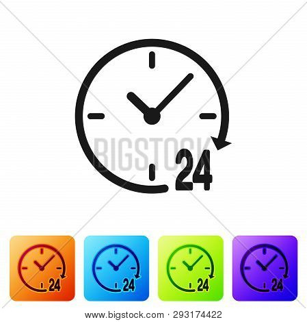 Black Clock 24 hours icon isolated on white background. All day cyclic icon. 24 hours service symbol. Set icon in color square buttons. Vector Illustration poster