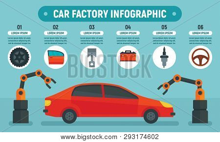 Car Factory Infographic. Flat Illustration Of Car Factory Vector Infographic For Web Design