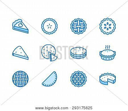 Pie Flat Line Icons Set. Ossetian, Cherry, Apple, Pumpkin Pies, Casserole, Pita Vector Illustrations