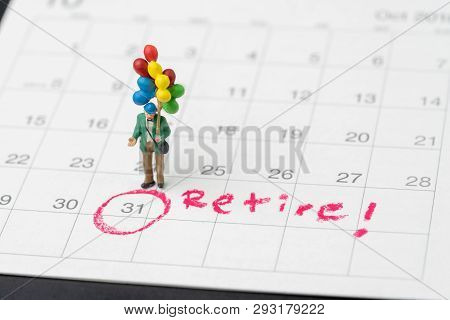Happy Retirement, Wealth Plan For Life After Retire From Work Concept, Miniature Happy Senior Old Ma