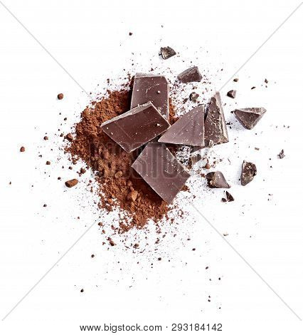 Cocoa Powder And Pieces Of Dark Chocolate, Isolated On White Background. Cake Ingredients, Top View