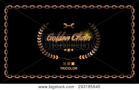 Golden Chain Square Border Frame. Rectangle Border With Golden Color. Jewelry Design. Flat Style Vec