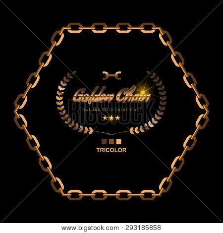 Golden Chain Border Frame. Border In Gold Color For Jewelry Design. Flat Color Style Vector Illustra