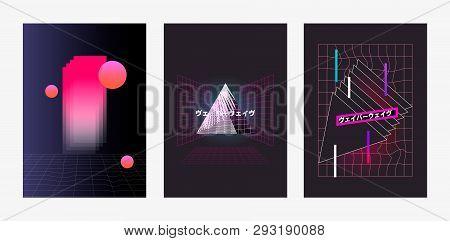 Set Of Posters Vaporwave, Seapunk, Synthpop Style, Neon Aesthetics Of 80s. Tropical Summer Theme. Ja