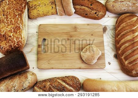 Bread Loaves As A Background With Design Space.
