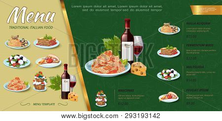 Hand Drawn Italian Food Menu Concept With Bottle Of Wine Cakes Mussels Pasta Spaghetti Pizza Piece S