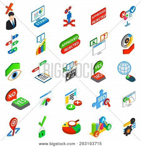 Answer Icons Set. Isometric Set Of 25 Answer Vector Icons For Web Isolated On White Background