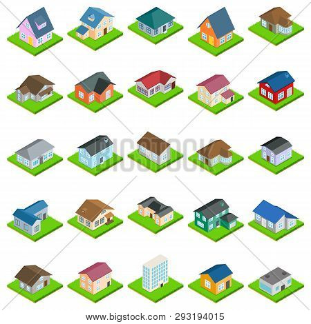 House Icons Set. Isometric Set Of 25 House Vector Icons For Web Isolated On White Background