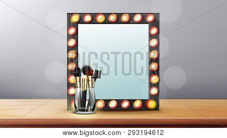 Vanity Mirror Vector. Makeup Vanity Frame. Dressing Woman Concept. Backstage Room. Illustration