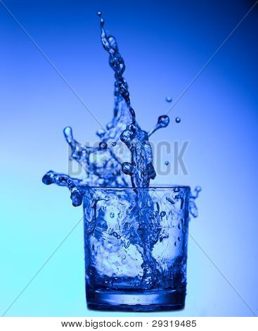 splash of water in a glass