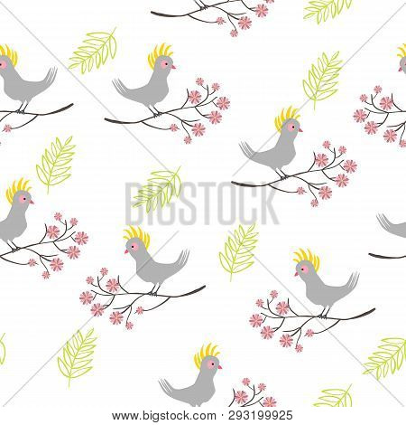 Seamless Pattern With Parrot Bird, Branch With Flowers. Vector Illustration.