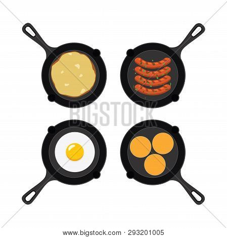 Vector Set Of Pans With Small Pancakes, Fried Egg, Omelet And Grilled Sausages. Collection Of Breakf