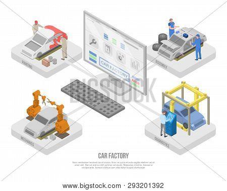 Car Factory Production Concept Banner. Isometric Illustration Of Car Factory Production Vector Conce