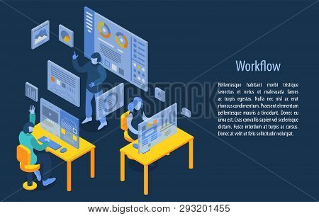 Workflow Management Concept Banner. Isometric Illustration Of Workflow Management Vector Concept Ban