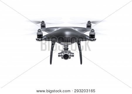 Flying Dark Drone Isolated On A White Background.