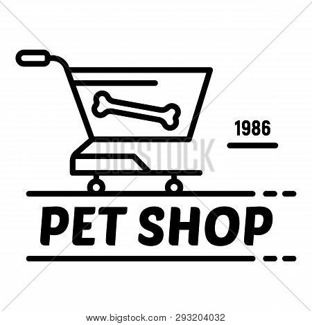 Cart Pet Shop Logo. Outline Cart Pet Shop Vector Logo For Web Design Isolated On White Background