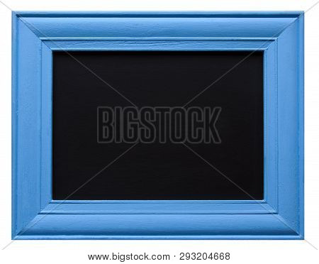 Blue Wooden Picture Frame With Blank Chalkboard Inner, Isolated On White Background, With Design / T