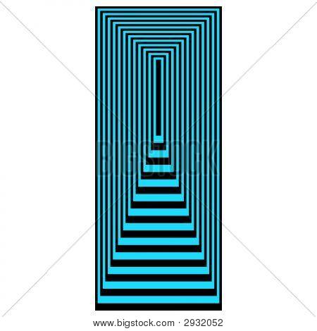 Op Art Concentric Rectangles Blue Over Black