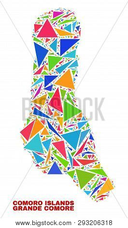 Mosaic Grande Comore Island Map Of Triangles In Bright Colors Isolated On A White Background. Triang