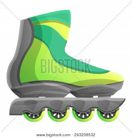Green Inline Skates Icon. Cartoon Of Green Inline Skates Vector Icon For Web Design Isolated On Whit