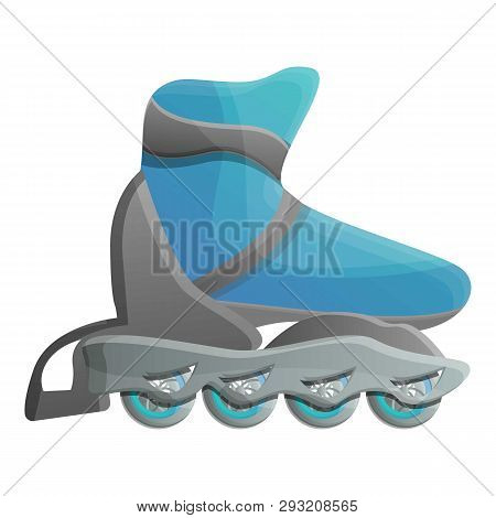 Blue Inline Skates Icon. Cartoon Of Blue Inline Skates Vector Icon For Web Design Isolated On White