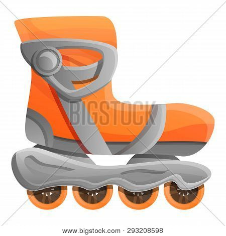 Orange Inline Skates Icon. Cartoon Of Orange Inline Skates Vector Icon For Web Design Isolated On Wh