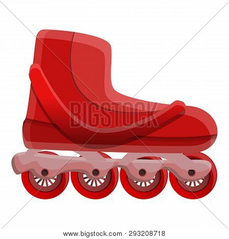 Red Inline Skates Icon. Cartoon Of Red Inline Skates Vector Icon For Web Design Isolated On White Ba