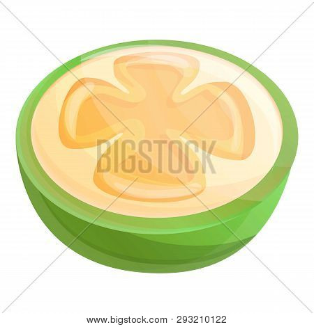 Cutted Feijoa Icon. Cartoon Of Cutted Feijoa Vector Icon For Web Design Isolated On White Background