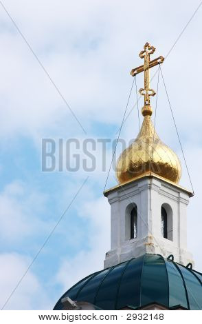 Old Russian Orthodox Church Over Blue Sky