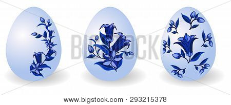 Set Of Easter Eggs Decorated In Traditional Russian Style Gzhel With Floral Pattern, For Happy Easte