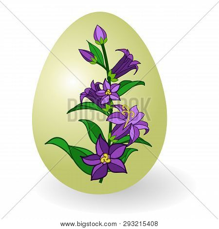 Easter Egg Decorated With Floral Pattern, Traditional Gift For Happy Easter Holiday. Paschal Egg Orn