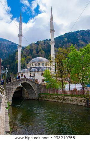 Demirkapi River And Mosque In The Village Of Uzungol In Trabzon City, 22 April 2018 Turkey