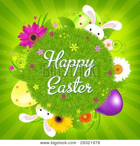Colorful Happy Easter Card, Vector Illustration