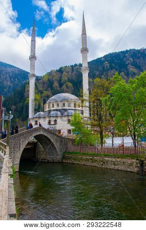 Demirkapi River And Mosque In The Village Of Uzungol In Trabzon City, 22 April 2018