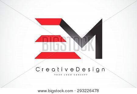 Red And Black Em E M Letter Logo Design In Black Colors. Creative Modern Letters Vector Icon Logo Il
