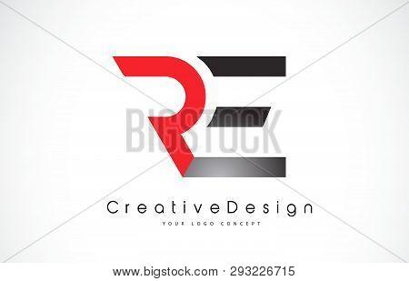 Red And Black Re R E Letter Logo Design In Black Colors. Creative Modern Letters Vector Icon Logo Il