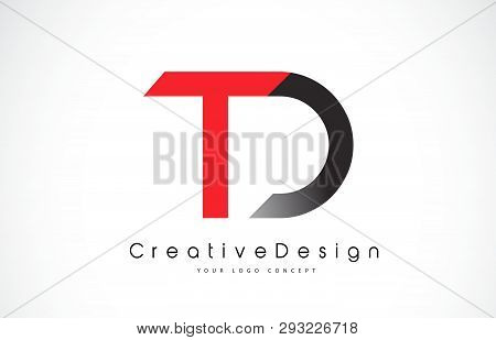 Red And Black Td T D Letter Logo Design In Black Colors. Creative Modern Letters Vector Icon Logo Il