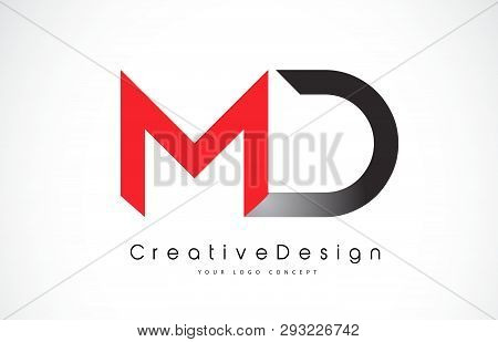 Red And Black Md M D Letter Logo Design In Black Colors. Creative Modern Letters Vector Icon Logo Il