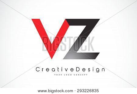 Red And Black Vz V Z Letter Logo Design In Black Colors. Creative Modern Letters Vector Icon Logo Il