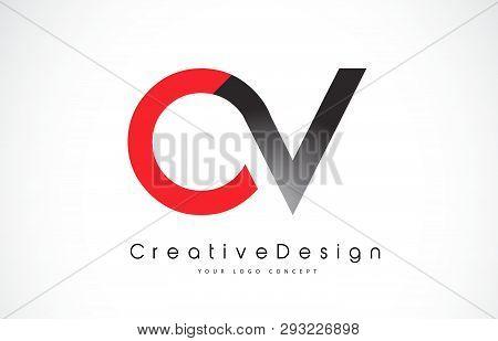 Red And Black Ov O V Letter Logo Design In Black Colors. Creative Modern Letters Vector Icon Logo Il