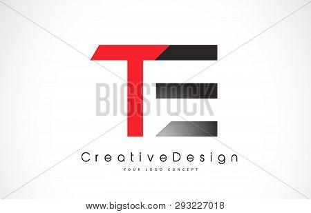 Red And Black Te T E Letter Logo Design In Black Colors. Creative Modern Letters Vector Icon Logo Il