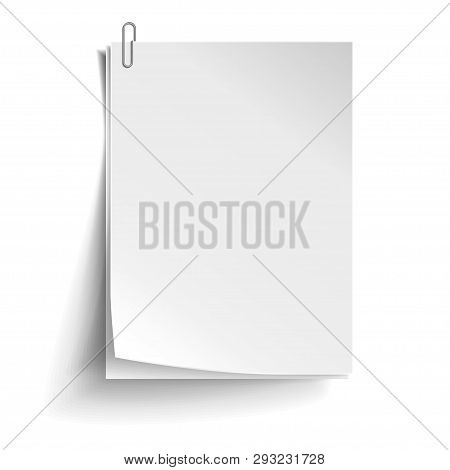 Two White Sheets Of Paper With Metal Paper Clip. Metal Paper Clip Attached To Paper. Vector Illustra